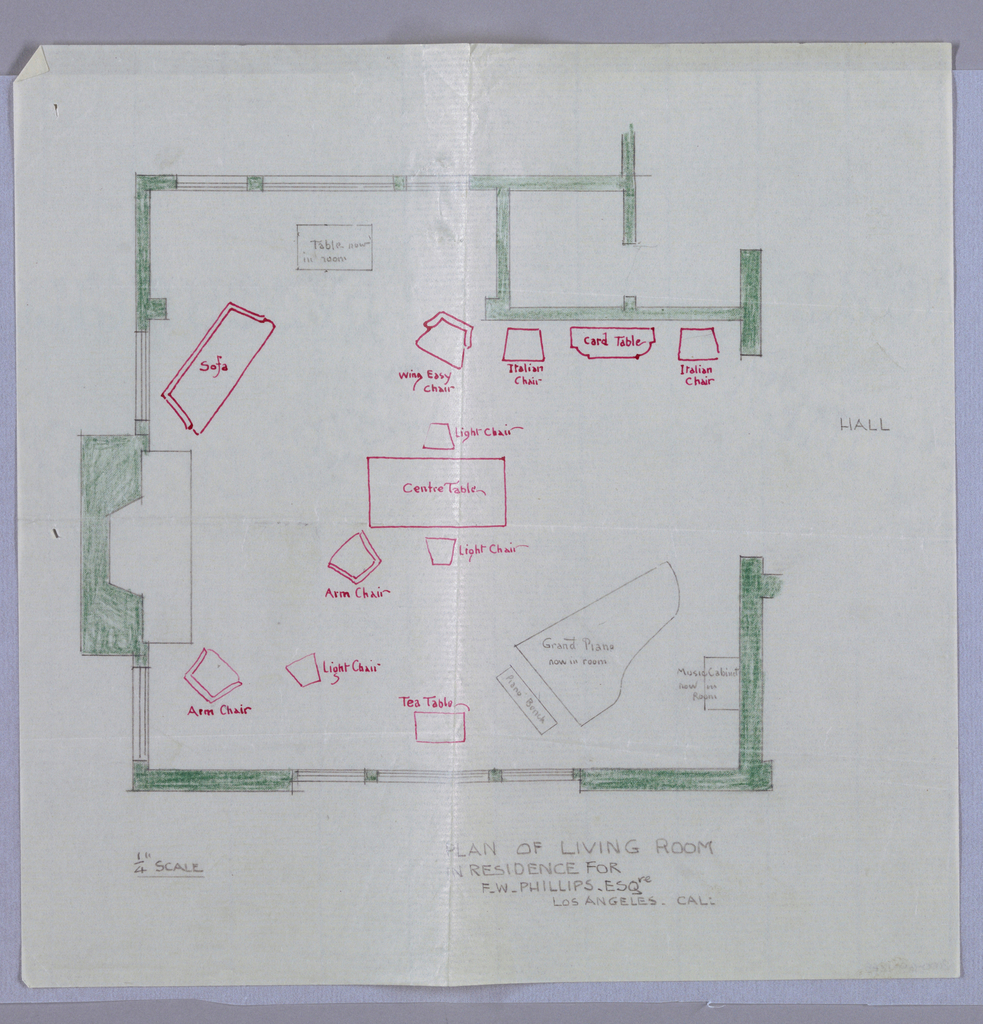 Drawing, Plan of Living Room in Residence for F. W. Phillips, Esqre