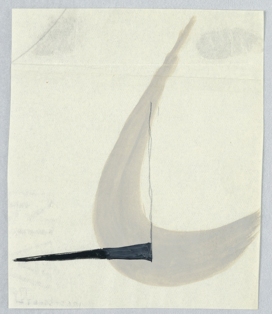 Study of an abstract bird, likely for an airline company based in England. At center right, a crescent shape in gray, bisected by a verticle black line which terminates at the bottom with a black triangle pointing to the left.