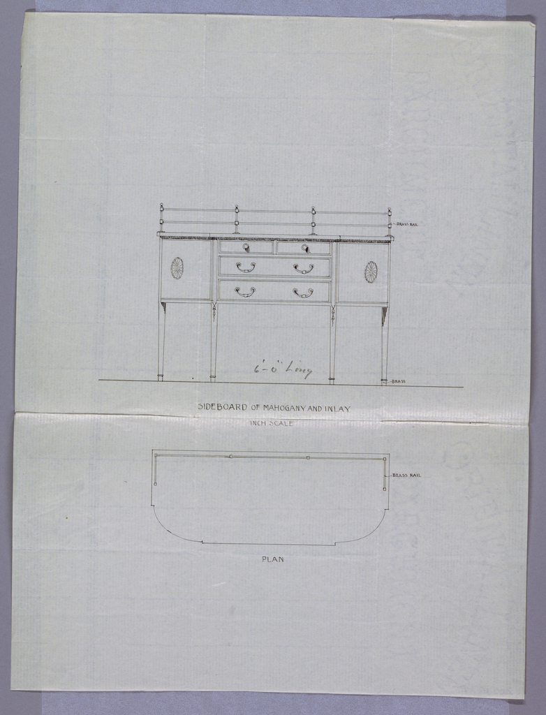 Elevation view: oblong sideboard with 6 straight tapering legs [4 shown] with foot rings; tri-partite front has 4 drawers arranged in 3 rows, flanked by 2 doors with patera medallions at centers; molded top had brass rail at back. Plan: shows molded oblong top with rounded corners and brass rail across back and wrapped slightly around sides.