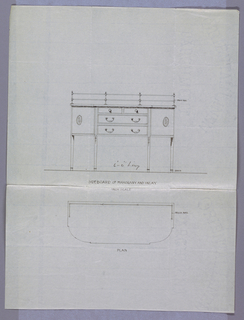 Drawing, Design for Sideboard in Plan and Elevation