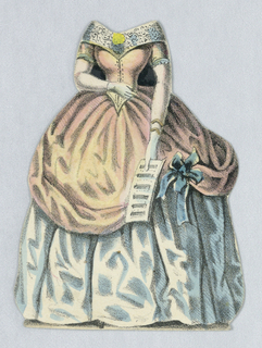 Paper doll costume for the figure of Jenny Lind representing the singer in Concert-Toilette (in costume to perform an aria in a private salon). Designed to be placed over the doll.