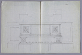 Elevation view (with wall paneling suggested in background): massive carved Renaissance-style sideboard on low rectangular platform; top with molded cornices, surmounted by upper shelf supported by backsplash and 4 columns at center; backsplash decorated with 8 carved plaques along top edge and a vase with flowers on either end; front has center niche flanked by square doors decorated with carved panels showing coats-of-arms surrounded by strapwork cartouches; Four conforming drawers along top edge of front have carved floral plaques at interstices. Plan view: rectangular sideboard with overlaid molding on top and irregularly shaped upper shelf.