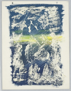 Study of an abstract composition. Against a blue, and yellow rectangular ground, white brushstrokes and splotches.
