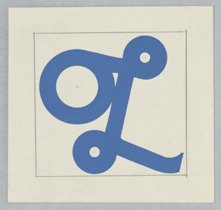 "An ornate, cursive letter ""L"" printed in blue, on white ground. The exagerrated scale of the leftmost curlicue invokes the ""O"" of the company monogram."