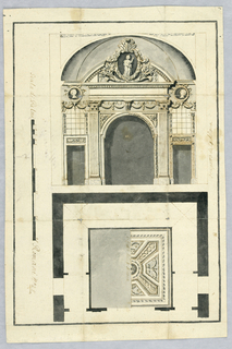 Top half shows an ornamented gate with three entry ways. The center entry is an arch. The gate is decorated with vines and leafs as well as busts and a sculpture of a female figure. The bottom half is depicts the right half of a ceiling panel inside of the building.