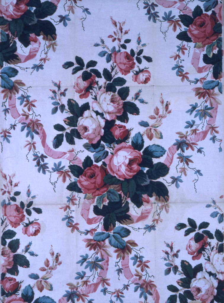 Bouquet of roses and pink ribbons on an off-white ground. Probably reprinted using blocks from 1840-1860.