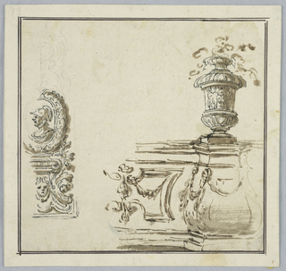 At left, a profile medallion of a soldier framed with a wreath, resting on a grotesque base. At right, the corner of garden architecture with a vase.