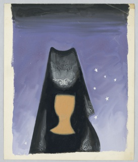 Study of a figure, depicted from the bust up, wearing a black lace mantilla (a shawl worn over the head and shoulders). The figure's facial features are not depicted. Behind, the ground is a purple starry sky.