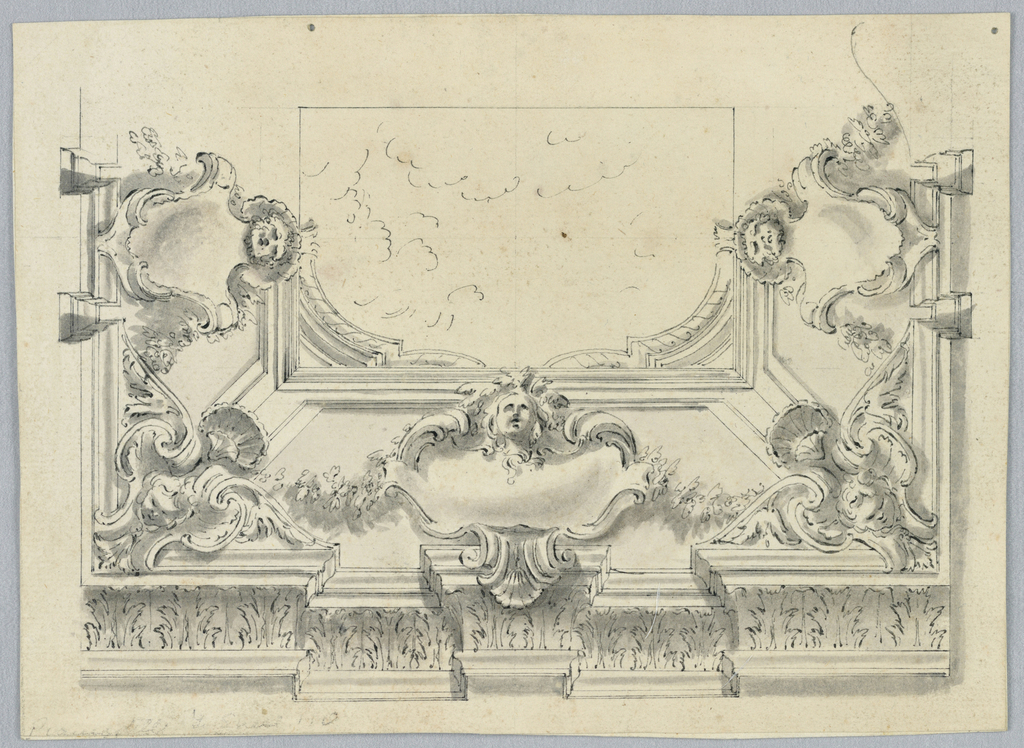 At the bottom, an entablature with vertical acanthus leaves. At center, an escutcheon with a mask. At each corner, a cherub with a shell. At top, a horizontal rectangle with a view to the sky with a partial balustrade.