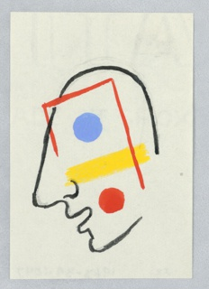 Study of an abstract profile, facing left. The outline of the head is depicted in a continuous black line. The face is adorned with a blue circle where the eye would be, with a yellow rectangle below, and a red circle where the cheek would be. The face is superimposed with a partially depicted outline of a rectangle in red.