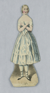 Paperdoll, representing the figure of Jenny Lind and ten cut out costumes, numbered 1 - 10, each from one of Jenny Lind's operatic roles, designed to be placed over the doll, all in paper folder; tied with green ribbon. Enclosed in cardboard container, the cover bearing full-length portrait of the singer, its inner side cover identifying the ten costumes (in German and English) and showing a three-quarter portrait of Jenny Lind in the center.