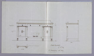 Elevation view: rectangular sideboard with four front legs with animal paw feet; central niche with punch bowl inside, topped by single drawer and flanked by doors decorated in patera medallions and topped by drawer; molded backsplash. Side view: molded cornice, short back brace and feet, columnar support above animal paw feet. Plan view [partial]: sideboard with concave center front and protruding columnar supports.