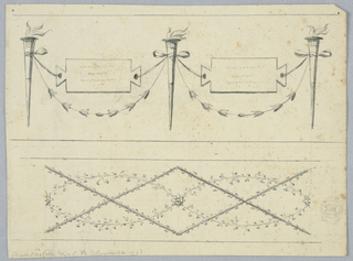 Horizontal rectangle. At top, torches connected by festoons and by tablets with inscriptions supported by the ribbons of knots. At bottom, are entwined with ovals formed by branches.