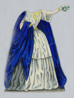 Paper doll costume for the figure of Jenny Lind representing the character Norma from the opera Norma.   Designed to be placed over the doll.