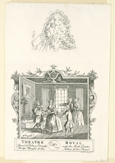 Print, A Ticket for Theatre Royal; Male Caricature