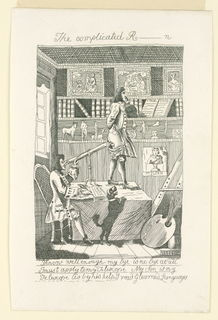 An interior view of a library. In center, a table. A young man stands on it; another man, seated, tries to look through him with a telescope.