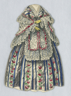 Paper doll outfit with lace shawl with pink flowered trim, and dress with alternating stripes of blue and floral patterns.