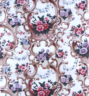 Flowers in polychrome and elaborate scrollwork in tan and red on an off-white ground.