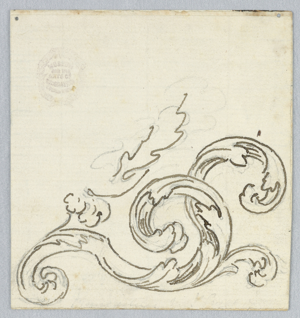 Incomplete design of scrolling acanthus leaves