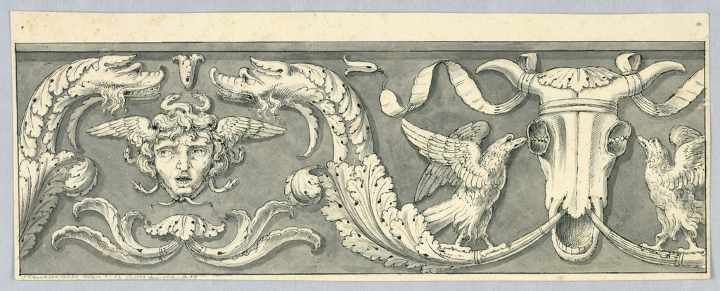 Horizontal rectangle showing the head of Medusa between two dolphins which terminate in acanthus leaves and originate in the mouth of a bucranium (ox skulls).  A pair of eagles pick at the skull's sockets.