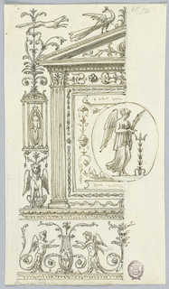 Left half of a design shown. At bottom, a frieze with grotesques. Above, at left, a candelabrum motif supported by a griffin. At right, a roundel with a winged figure is below an entablature.