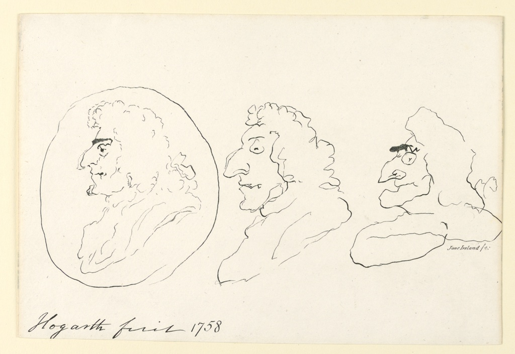 Three grotesque profiles of men in long wigs, outlined with scratching, exploratory lines imitating roughly drawn grotesques by William Hogarth.