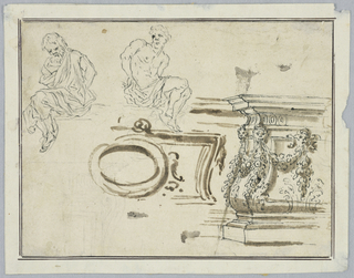 Ornamental garden architecture and two male figures with bound hands, possibly from a grotesque or metalwork.