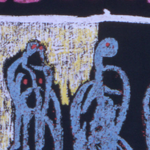 Square scarf with black background and pink/black plaid border. Center area has a thin white square with yellow at the top left and red at the bottom right with three standing figures in dull mint green. Center area is surrounded by a black area with pink tick marks that form a square. Work is signed by the artist on the bottom right-hand corner.