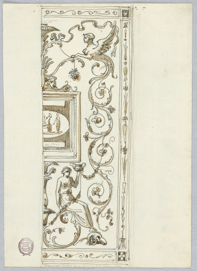 Right half of a framed panel with grotesques. At center, left is a partial tablet with figures.