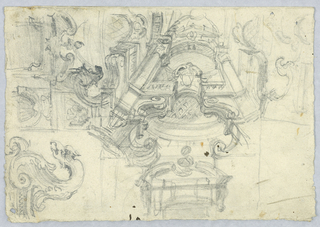 A variety of sketches of pediments and other architectural fragments. At left, the head of a griffin.