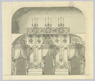 Elevation of a room with three doorways, each with a canopy. Between these, candelabras. Panel of strapwork and more candles above.