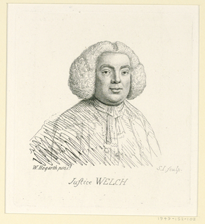 """Engraving after a pen and ink drawing. A half-length portrait slightly turned toward right. The sitter wears a wig. Inscribed, lower center: Justice Welch. Illustration for Ireland, """"Graphic Illustrations…"""" I, 155."""