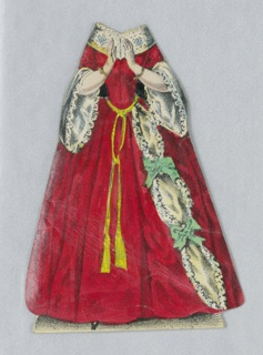 Paper doll costume for the figure of Jenny Lind representing the character Valentine from the opera Die Hugenotten (The Huguenots). Designed to be placed over the doll.