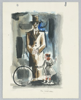 Study for an illustration, possibly for a book. At center, a standing figure facing frontally with hands clasped in front. The figure wears a top and a suit, both in brown. The figure's face resembles a skull. At the figure's feet, at right, a child faces the figure, and slightly to the left. The child is wearing a gray dress with red socks that match the child's long hair, pulled back with a black bow. The child rolls a hula hoop, which can be seen at left. The scene is set against a black, blue, and brown background.