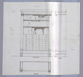 Drawing, Design for Bookcase