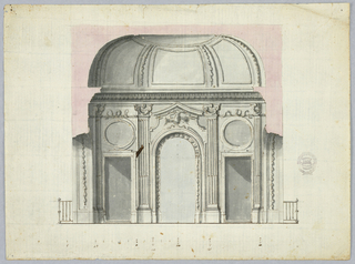 View of a domed room. At center, an archway topped with an eagle and pediments. Flanking this are fluted pilasters and door with oval overdoor panels. Ceiling above divided into panels separated with festoons.