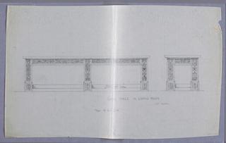Drawing, Design for Large Oak Livingroom Table, 1900–05