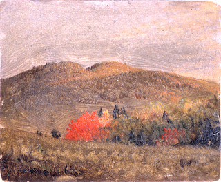 Horizontal view of hills across a valley.  Trees are shown in the right middle plane.