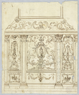 Elevation of a wall divided by pilasters with Corinthian capitals. Dado decorated with crowned eagles and a brazier hung with festoons. Walls decorated with candelabrum and, at center, an oval surrounded with cherubs.
