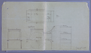 Drawing, Design for Dining Table: Cart for Plates and Trays (Plan Elevaton front and rear views), 1900–05