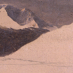 Horizontal view of the mountain with the sky and some parts of the peak in a more finished state, while the remainder is only sketched in on a creamy ground color.