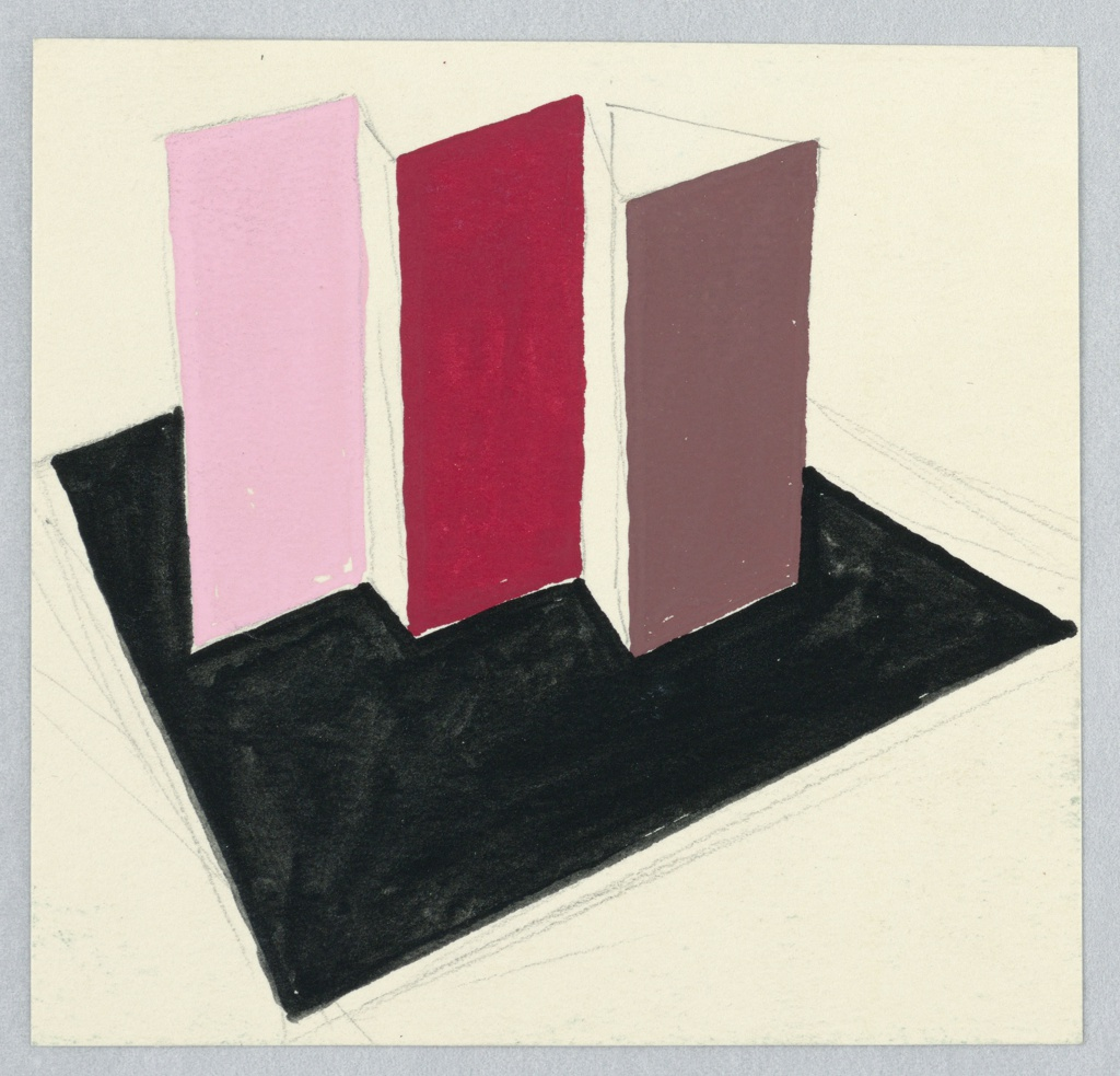 Study of an abstract, geometric motif. Three vertical rectangles (from left to right colored in light pink, red, and mauve) emerge from a black, square, horizontal plane. The three vertical rectangles are arranged in a stair-step fashion, and connected by lines in graphite to suggest they might fit together like a screen.