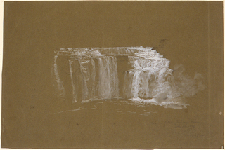 Horizontal view of the rushing water of the lower falls shown in white gouache at center of sheet.