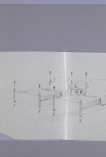 Drawing, Design for Twin Beds with Pinecone Finials