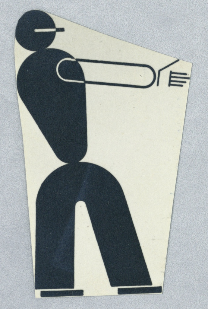 Study of an abstracted figure, facing right with one arm extended straight out in front of it. The figure's body is depicted in black with the arm and hand depicted in black outline.