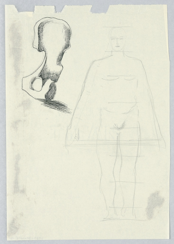 Study of a nude figure, seen frontally with features vaguely rendered, depicted between proportional framing lines. At upper left, disproportionately large sketch of a coxal (hip) bone in black.