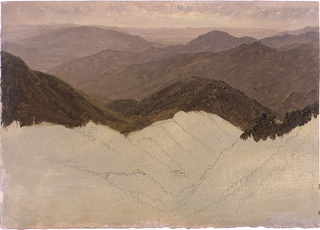 An unfinished sketch. Distant view over hill and mountain range.