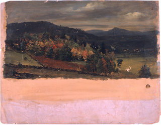 View into a valley which is bordered by hills at left and in the middle plane.  A mountain range is in the right background. Cloudy sky.  Woods are shown especially in the left middle plane.  Log fences.  Margins are left free and show the rose grounding laterally, and very broad bottom.