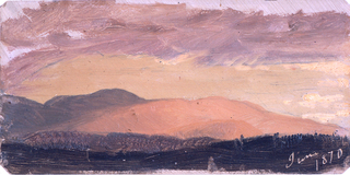 Low ridges are shown in the foreground and in the left center.  Mountains rise in the center and the left background.  The date is written with color in the right bottom corner.