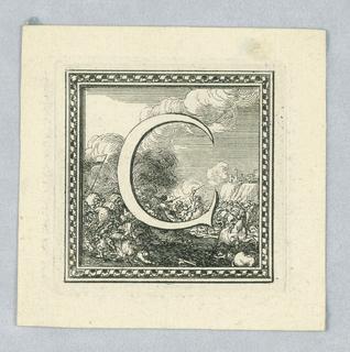 Shown against a battle of horsemen. Moulded frame.